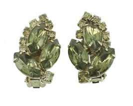 VINTAGE JULIANA GREY OLIVINE MARQUISE RHINESTONES CLIP BACK EARRINGS STU... - $80.99