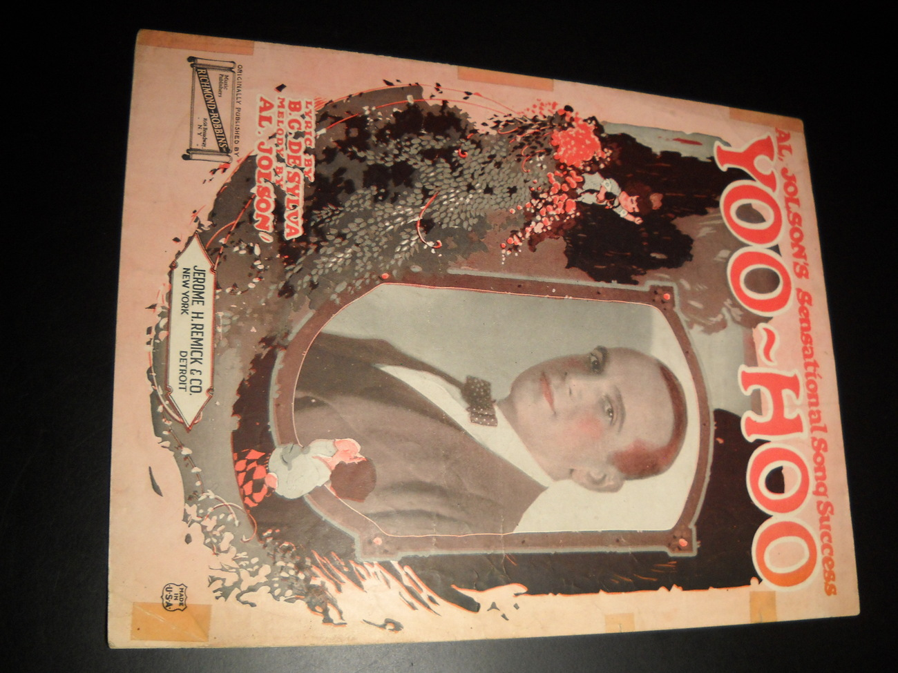 Sheet Music Yoo Hoo Al Jolson De Sylva Richmond Robbins 1921 Jerome Remick Music