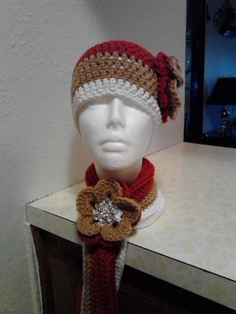 Crochet Flowered Hat & Short Scarf Set/Terra Cotta