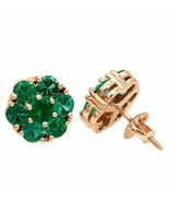 4Ct Round Cut Green Emerald Flower Halo Stud Earrings 14K Rose Gold Finish - $110.49