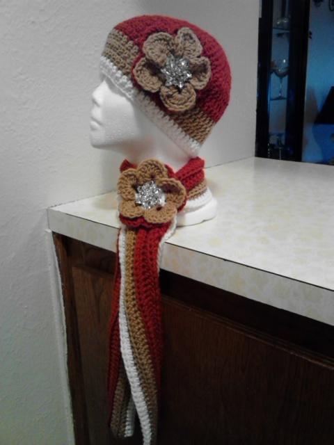 Crochet Flowered Hat & Short Scarf Set/Terra Cotta