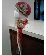 Crochet Flowered Hat & Short Scarf Set/Terra Cotta - $40.00