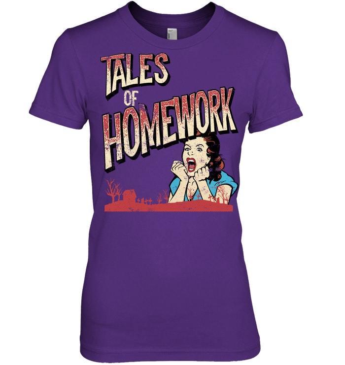 Funny Halloween Tshirt For Teachers Tales of Homework