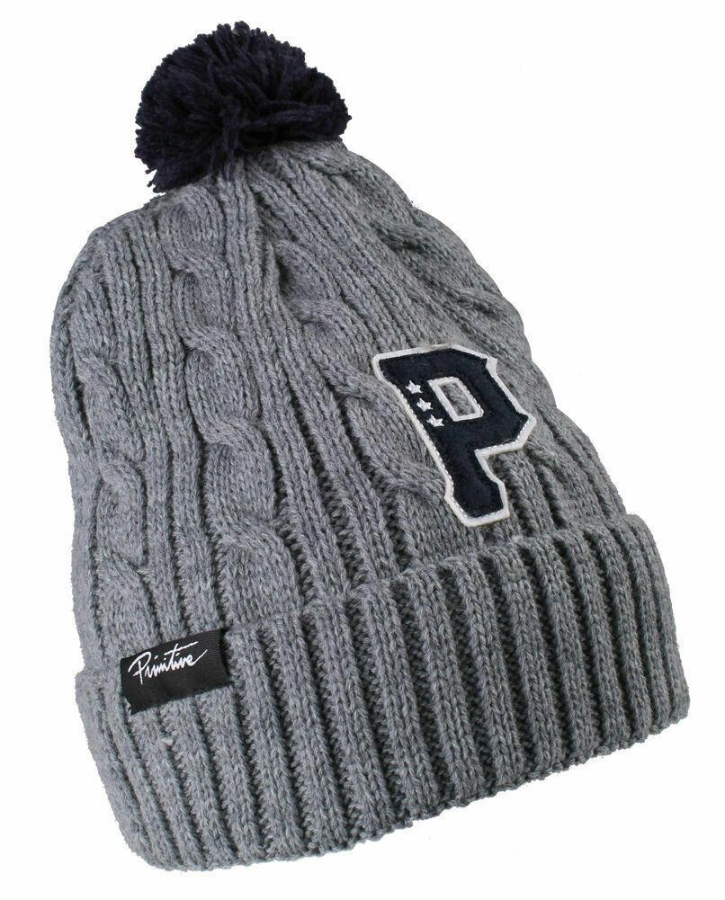 Primitive New Era Timeless Cable Knit Skate Gray Pom Beanie Ski Hat NWT
