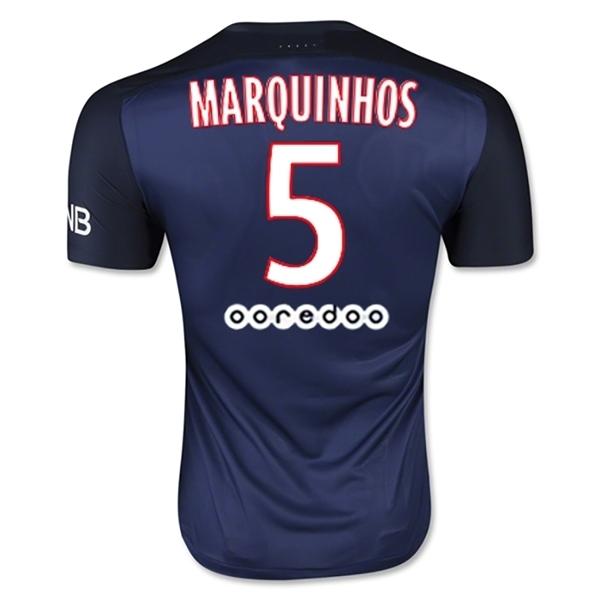 Mens MARQUINNHOS 5 Paris Saint Germain FC 1516 Home Soccer Jersey Men