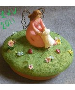 Pink Russ Garden Sheep Lamb Fairy Angel Jar Candle Topper  - $3.99