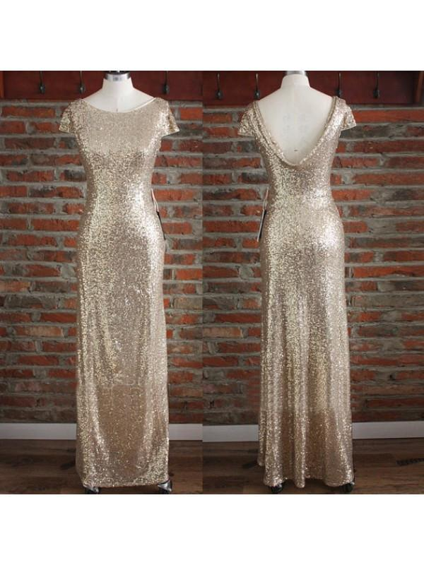 gold bridesmaid dress,Long bridesmaid dress,sequin bridesmaid dresses.BD1105