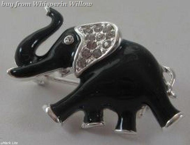 Primary image for Lucky Clear Cz Crystal and Black Epoxy Elephant Fashion Pin
