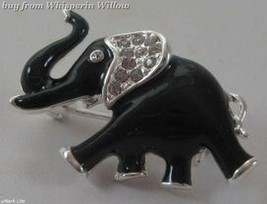 Lucky Clear Cz Crystal and Black Epoxy Elephant Fashion Pin - $15.95
