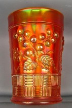 CARNIVAL GLASS - NORTHWOOD RASPBERRY Dark Marigold Tumbler 4058 - $27.00