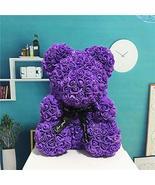 Purple Rose Flower Love Bear Gift Box Wedding Decor Girlfriend Birthday ... - $27.72