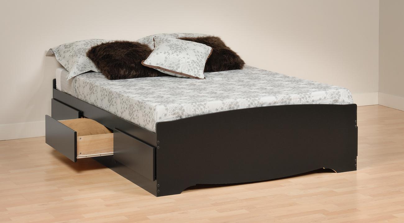 Prepac Sonoma Black Wood Platform Storage Bed 7 pcs.Full Bedroom Set