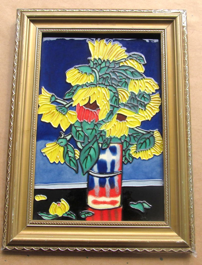 "Handmade & Handpainted ""Sunflowers"" Stained Glass Painting Collectible Art Wall"