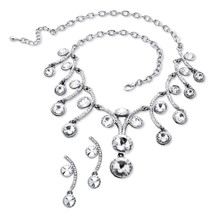 Round Crystal Scroll Necklace and Earrings Set in Silvertone - $19.49