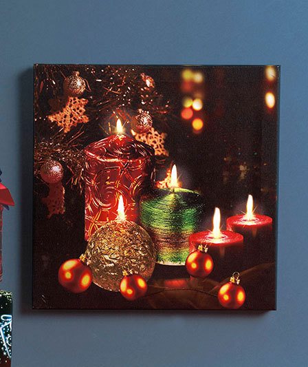 Holiday twinkling led canvas wall art wall hangings mirrors for Lights for paintings