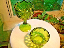 Indiana Glass 1960's Green Compote & Candy Bowl - $34.64