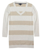 Tommy Hilfiger Women Textured Stripe Pullover (Small, Egret/Nut Heather) - $29.65