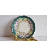 Beautiful Vintage Hand Painted Rose Bouquet Saucer Scallop Edge Beaded G... - $9.99