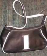 Leather handbag shoulderstrap black with white #1 - $6.00