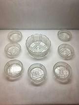VINTAGE Set of 7 Ice CREAM Bowls Crystal ART DECO Frosted Design 1 SERVI... - $49.49