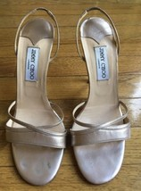 Jimmy Choo Gold Metallic Leather Slingback Strappy Sandals Heels Size 40.5 - $84.11