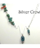 Turquoise, Coral Gemstones & Sterling Silver Abstract Necklace  - $48.99