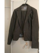 Ladies Oasis Grey Strip Fitted Skirt Suit Size 12/38. - $15.48
