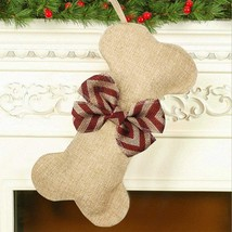 Malier New Linen Large Christmas Stocking for Dogs Cats Pets Jute Natura... - $10.69