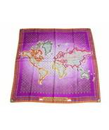 """Louis Vuitton Scarf World map 86 cm Monogram Silk 34"""" inch Purple M74584... - $374.22"""