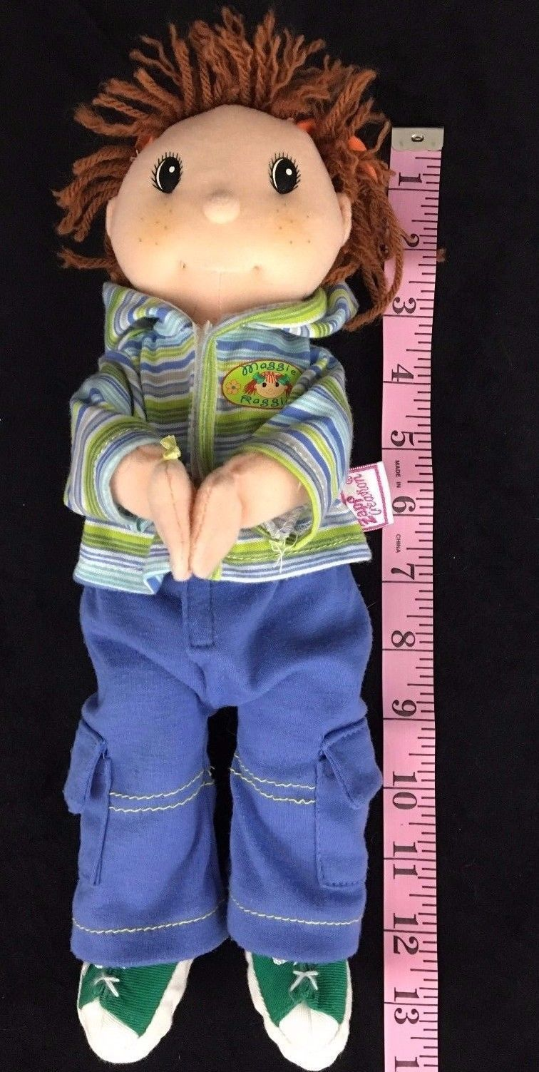 Rag Doll  Zapf Creations Maggie Raggies Baby 12 Inch Ball Cap Hoodie Brown Hair