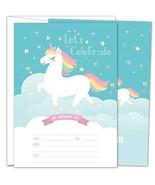 Gooji Unicorn Party Invites – Large 25pcs Double Sided Rainbow Unicorn I... - $13.24