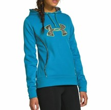 NEW UNDER ARMOUR WOMEN'S  STORM CALIBER BIG LOGO HOODIE PIRATE BLUE