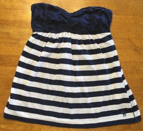 Abercrombie New York Blue & White Striped Girls Tube Top Shirt - Size: XL