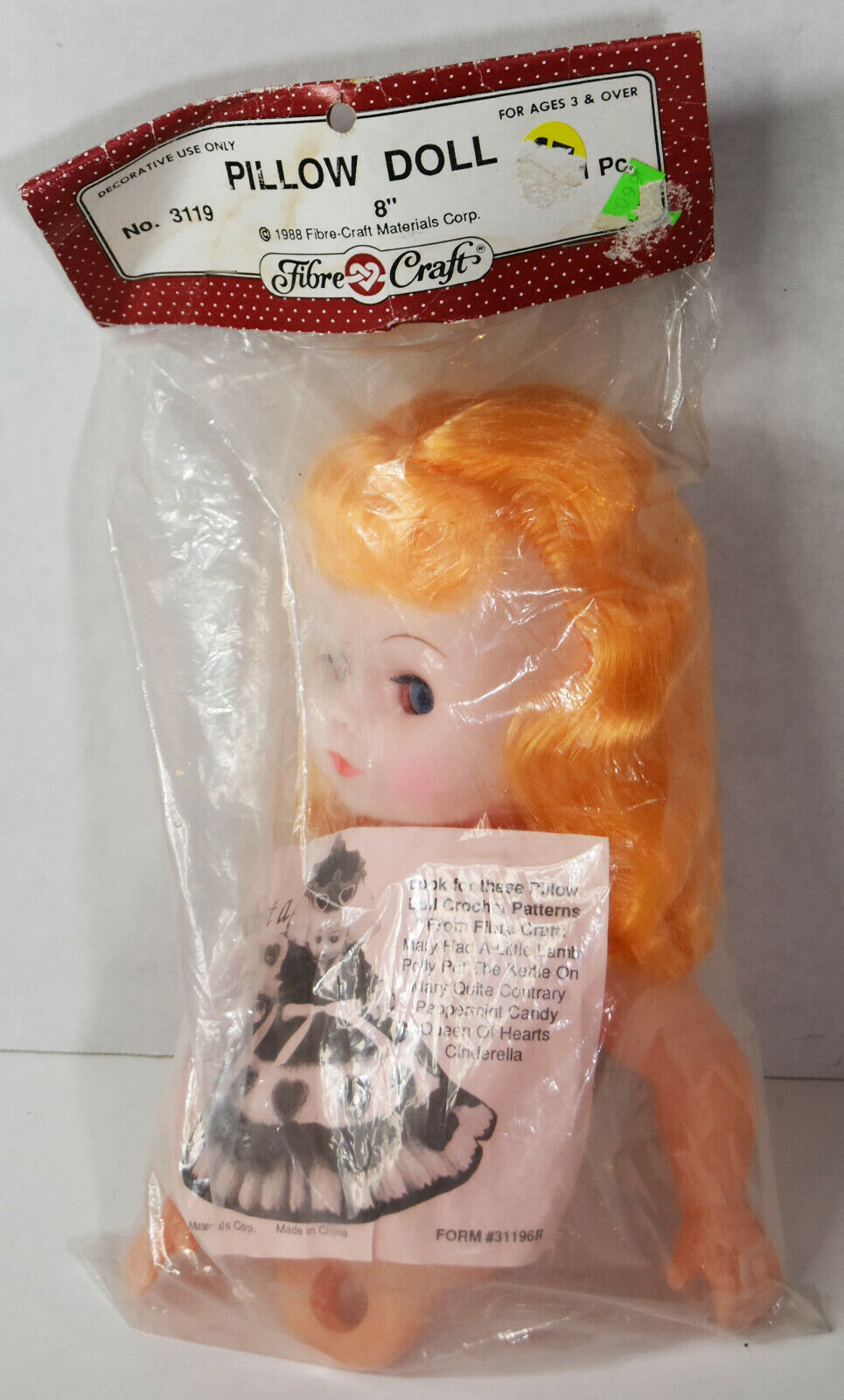 "8"" Vintage 1988 Crochet Pillow Doll Open Close Eyes Blonde Hair Cute Baby Girl"