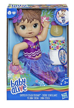 Baby Alive Shimmer n Splash Mermaid Baby Doll Brown Hair Ages 3+ Bottle Diaper - $24.99