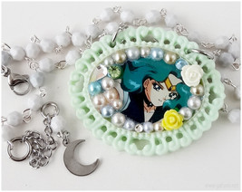 Sailor Neptune Necklace, Mint Green Cameo Pendant, Beaded Rosary Chain- ... - $27.00
