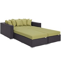 Convene 4 Piece Outdoor Patio Daybed Espresso Peridot EEI-2160-EXP-PER-SET - $2,043.00