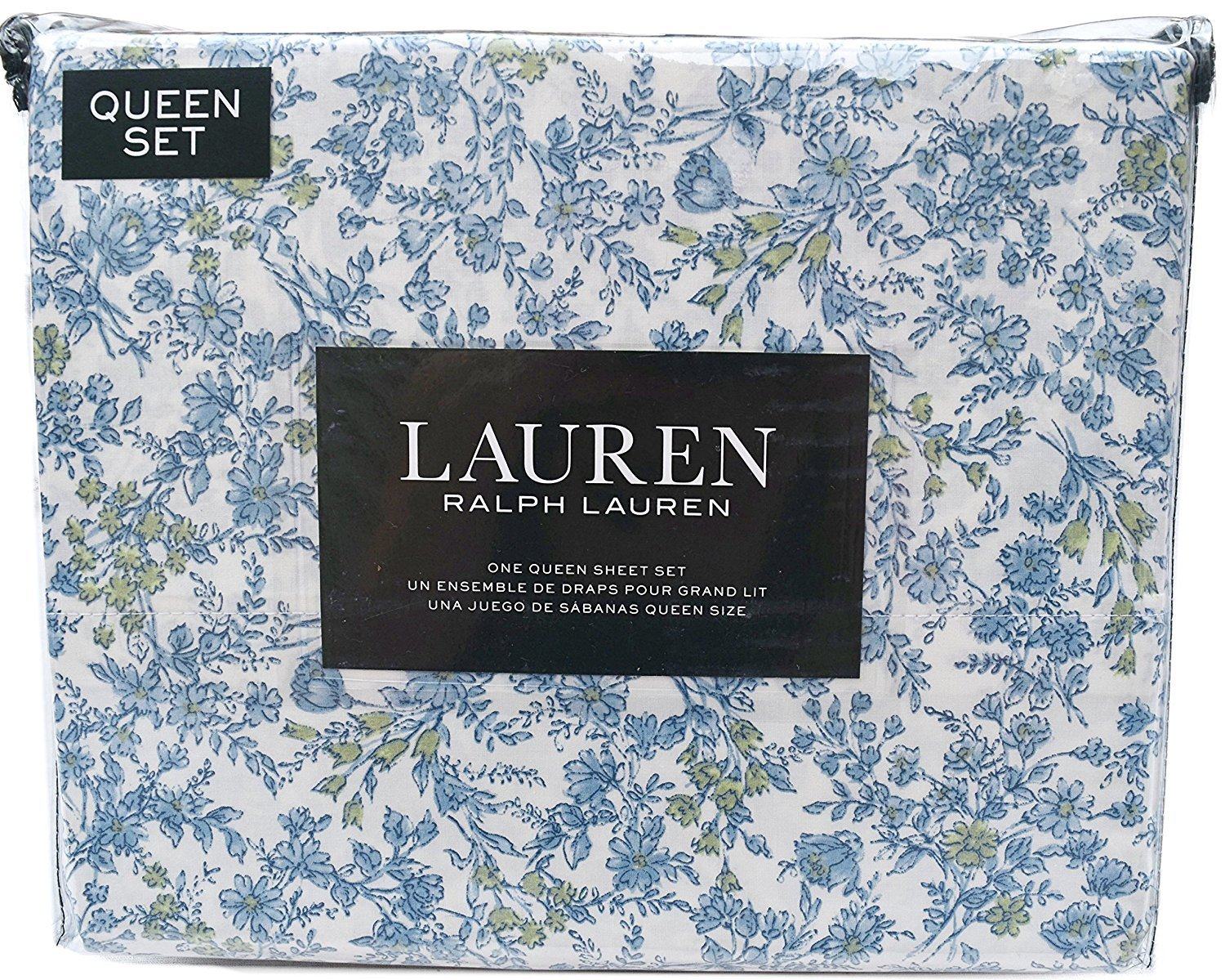 Ralph Lauren Blue and Green Wild Flowers Country Cottage Sheet Set Queen