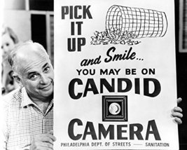 Candid Camera Alan Funt Classic Holding Sign 16X20 Canvas Giclee - $69.99