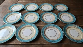 "Set of 12 Aynsley Aqua Blue 7611 Bread and Butter Plate 6.25"" - $415.80"