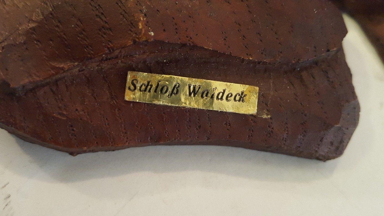 Vintage Schloss Waldeck Souvenir Resin Fishing Captain Man Hat Pipe