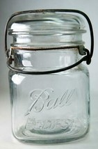 Old Ball Eclipse 1-Pt Clear Glass Canning Jar Squared Shape # 2 - $5.00