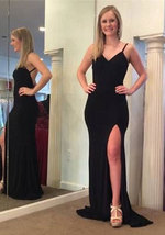 Hot Sell Simple Spaghetti Straps Black Backless Long Prom Dress with Split - $119.99+