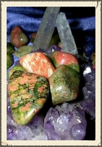 3 Metaphysical Unakite Gemstones Unconditional Love & Connection haunted NW602 - $9.99