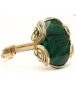 New Wire Wrapped Malachite Sterling Silver/14kt... - $250.00