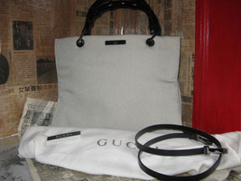 Gucci bamboo tote canvas beige Saks Fifth Ave handbag - $832.44