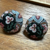 Estate Lighweight Black & Pink Floral Fabric Covered Button Post Earring... - $8.59