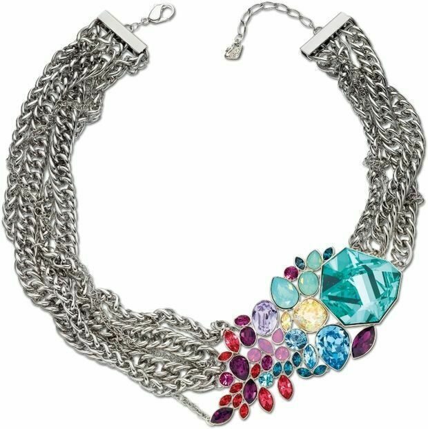 Primary image for AUTHENTIC SWAN SIGNED SWAROVSKI TROPICAL NECKLACE 1181248 RARE RUNWAY LIMITED