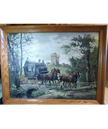 "Vintage Paint by Number Framed Painting Horse Carriage Castle Bridge 18""... - $88.11"