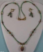 BloodStone Gemstone Necklace/Earrings Set - $24.95